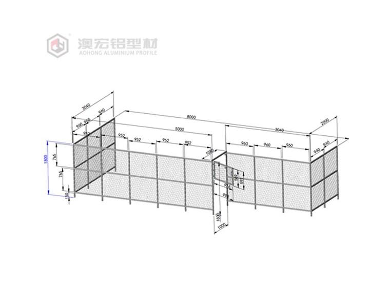 铝型材围栏的图纸解析