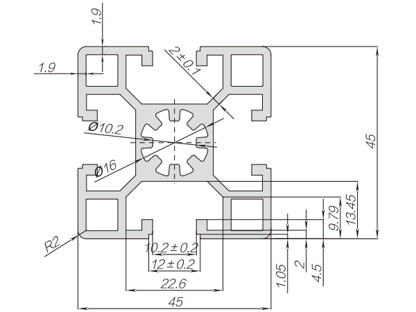45系列铝合金型材 001 010 45 45