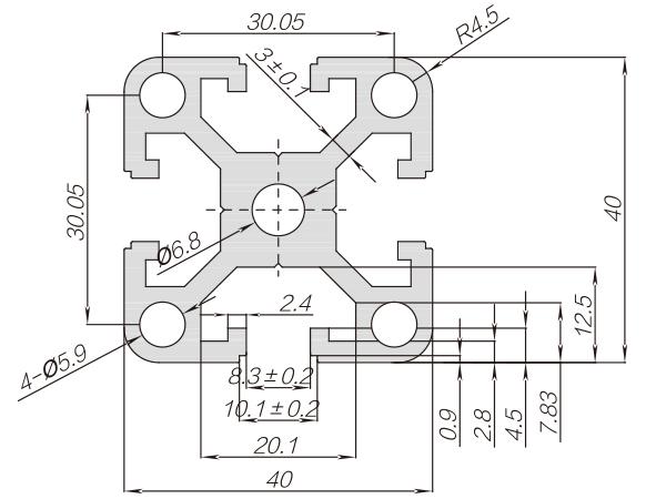 40系列铝合金型材 001 08 40 80RA